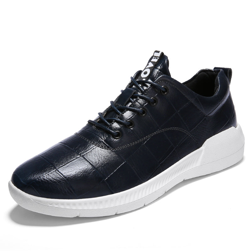 Leather Circuit Sneakers (Black/White Sole)