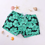 Hibiscus Beach Shorts (Red & Green)