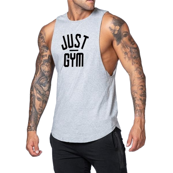 Man in gray gym tank top