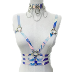 Adjustable Holographic Choker Belt Harness