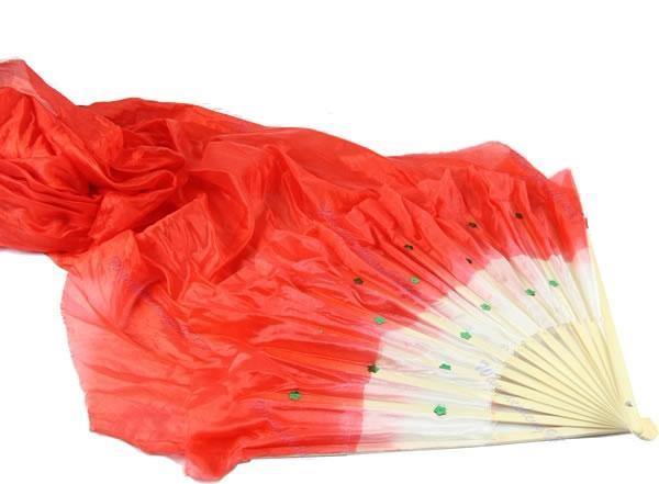 Silk Bamboo Long Folding Fan with Veil