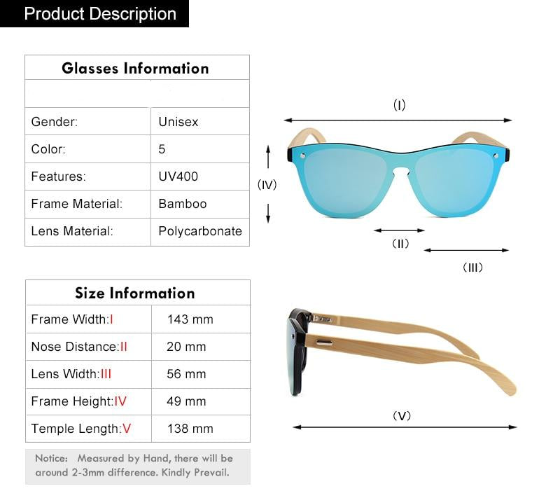 Mirrored Bamboo Wooden Sunglasses (Multiple Colors)