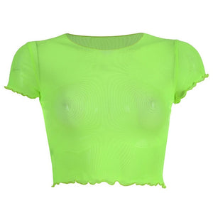 Mesh Festival Short Sleeve Turtleneck Crop Top (Multiple Colors)