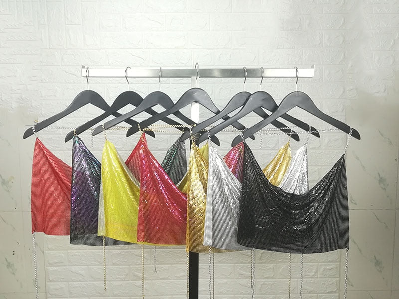 Backless Metallic Crop Top (Multiple Colors)