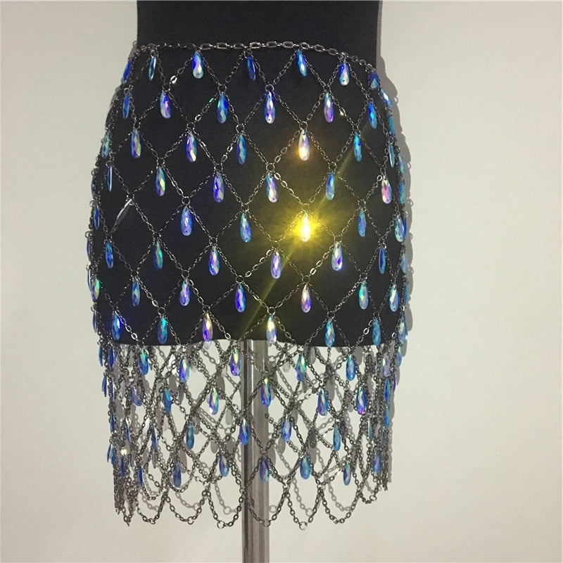 Sexy Chain & Gem Sequin Skirt (Multiple Colors)