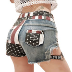 Distressed US Flag Denim Shorts