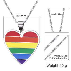 Rainbow Heart Shaped Pendant Necklace