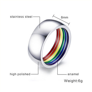 Stainless Steel Rainbow Pride Ring