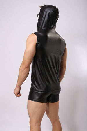 Faux Leather Sleeveless Hoodie