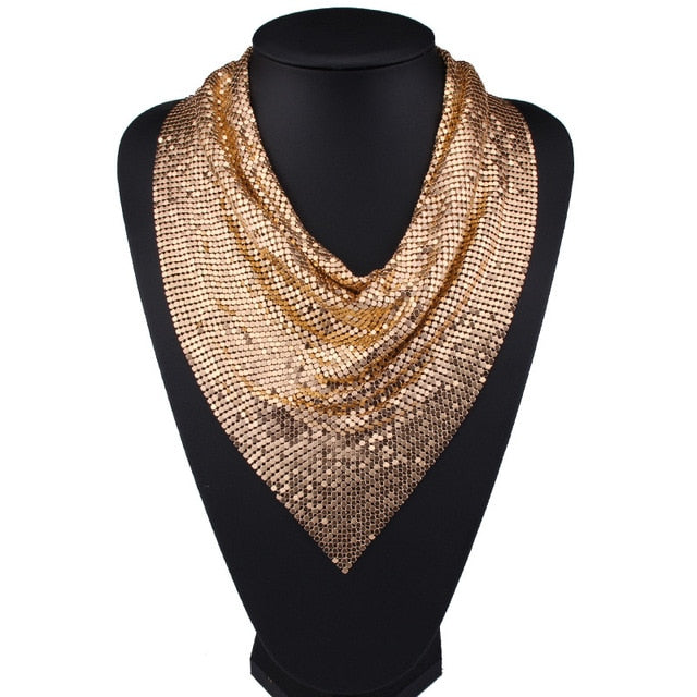 Exaggerated Metal/Alloy Neckerchief  (Gold, Silver & Black)