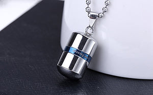 Stainless Steel Capsule Pendant Necklace (Multiple Colors)