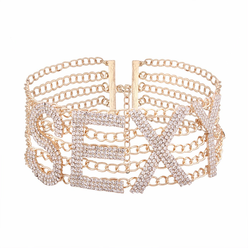 """SEXY"" Crystal Choker Necklace (Gold/Silver)"