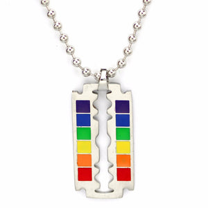Rainbow Razor Blade Pendant Necklace