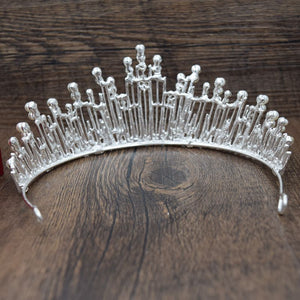 Vintage Multi-layer Rhinestone Brides Crown (Silver/Red)