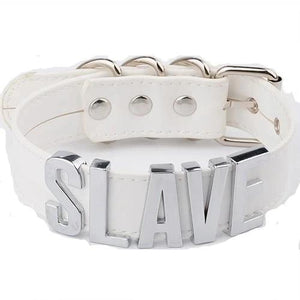 """SLAVE"" Leather Choker Necklace (Multiple Colors)"