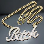 "Gold Bling ""Bitch"" Crystal Stone Chain"