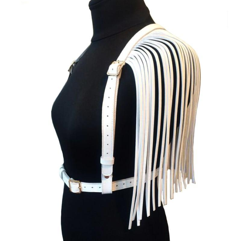 Faux Leather Suspender Harness with Fringe (Black & White)