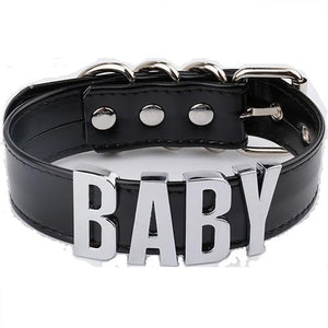 """BABY"" Leather Choker Necklace"
