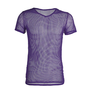 Mesh V-Neck Tee (Multiple Colors)