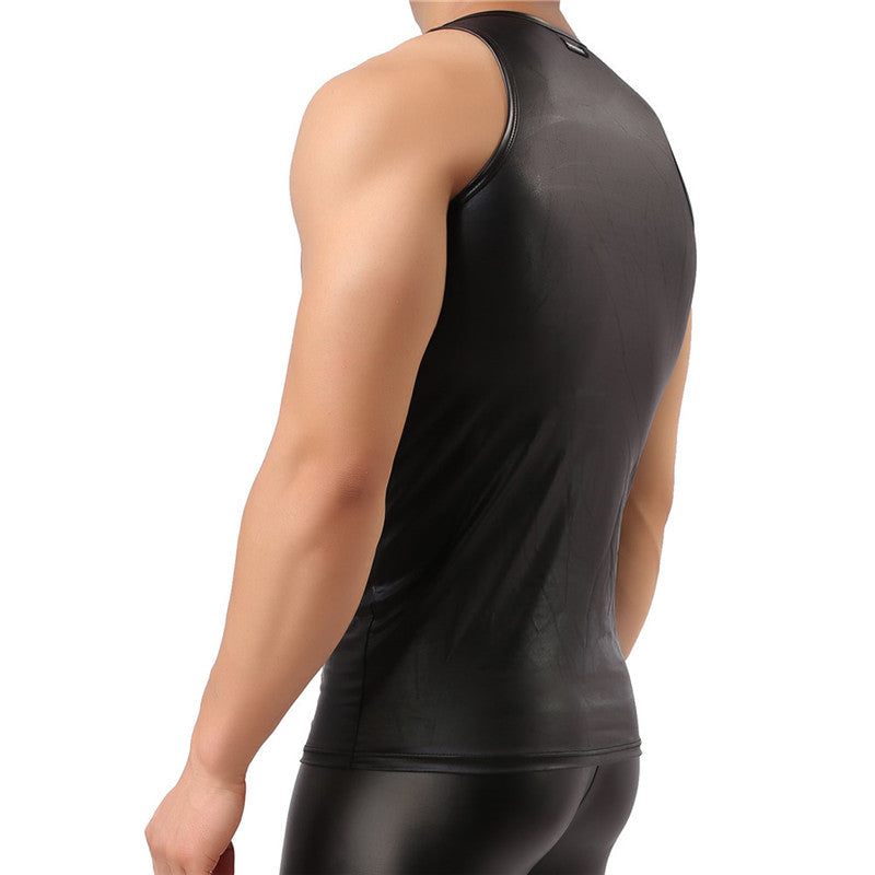 Men's Crew Neck Faux Leather Tank Top