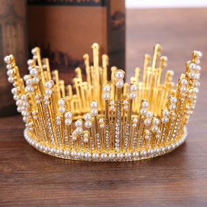 Pearl Spiked Crown (Gold/Silver)