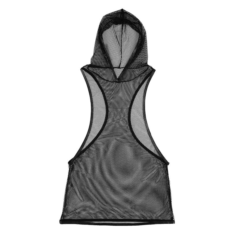 Hooded Mesh Tank Top