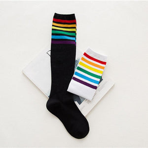 Rainbow/Multicolor Knee-High Socks (Black/White)
