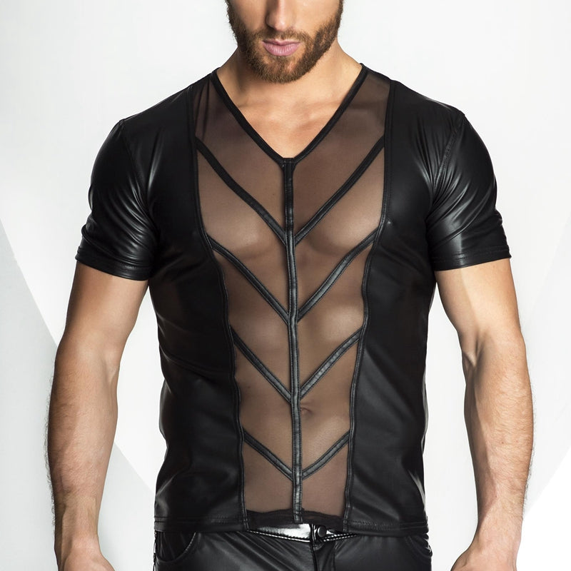 Men's Faux Leather & Mesh T-Shirt