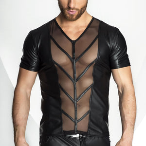 Faux Leather & Mesh T-Shirt