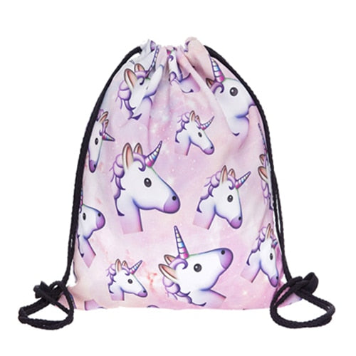Unicorn 3D Print Pop Culture Drawstring Bag