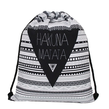 Hakuna Matata 3D Print Pop Culture Drawstring Bag