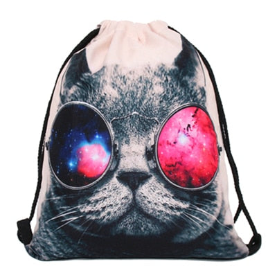 Steampunk Kitty 3D Print Pop Culture Drawstring Bag