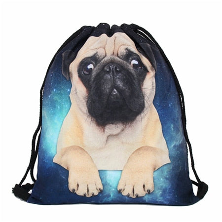 Cosmic Pug 3D Print Pop Culture Drawstring Bag
