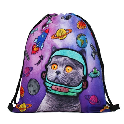 Astro Kitty 3D Print Pop Culture Drawstring Bag