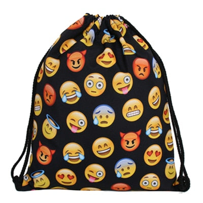 Emoji 3D Print Pop Culture Drawstring Bag