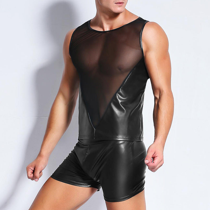 Mesh and Faux Leather Sleeveless Shirt
