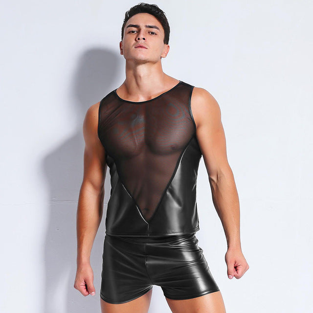 Men's Mesh and Faux Leather Sleeveless Shirt