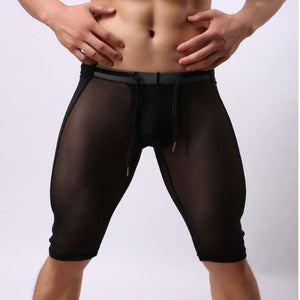 Men's See-Through Mesh Tights (Black/White)