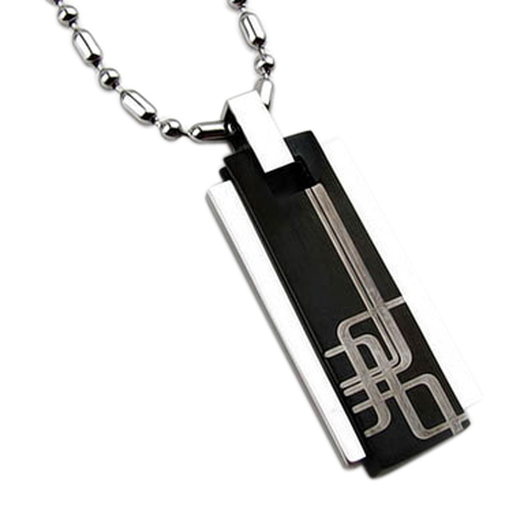 Stainless Steel Square Column Pendant Necklace