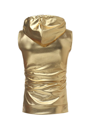 Metallic Sleeveless Zip-Up Hoodie (Gold, Silver & Black)