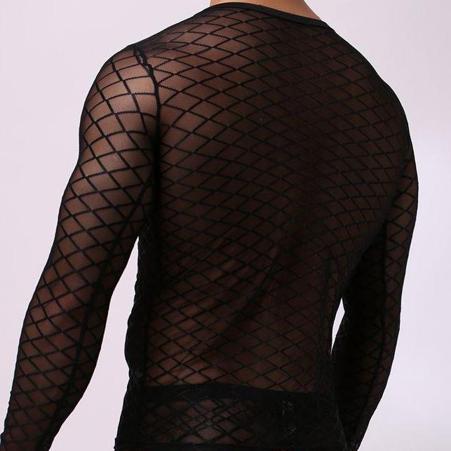 Mesh Long Sleeve Shirt (Black/White)