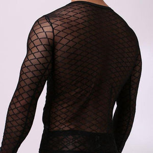 Men's Mesh Long Sleeve Shirt (Black/White)