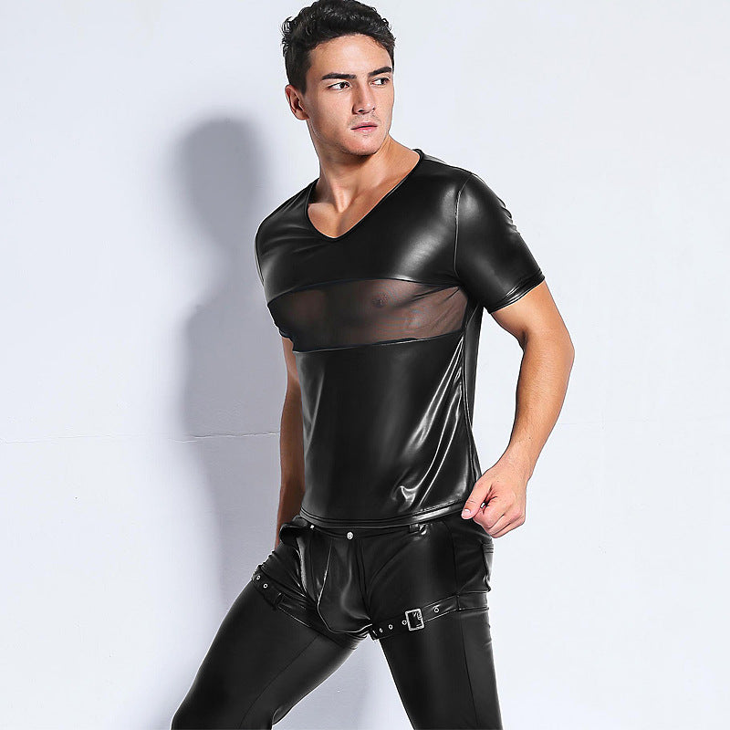 Faux Leather V-Neck with Peekaboo Mesh