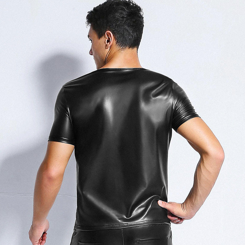 Men's Faux Leather V-Neck with Peekaboo Mesh