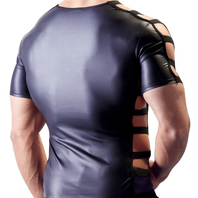 Men's Faux Leather Cut-Out Tee