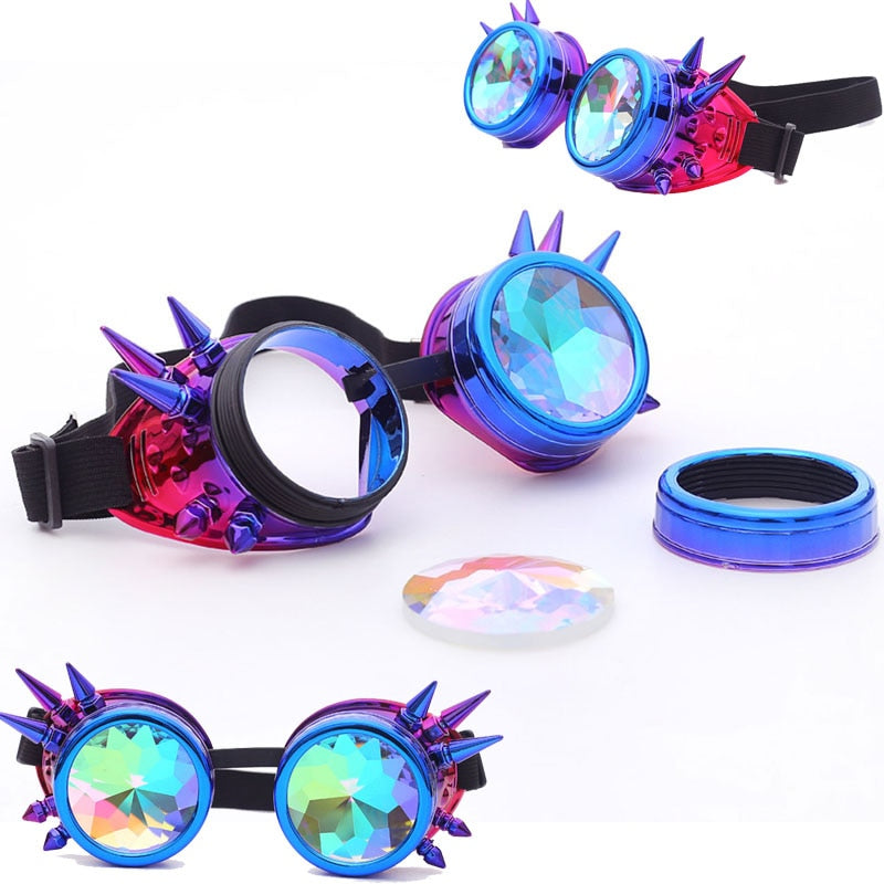 Kaleidoscope Steampunk Colorful Glasses (Multiple Colors)