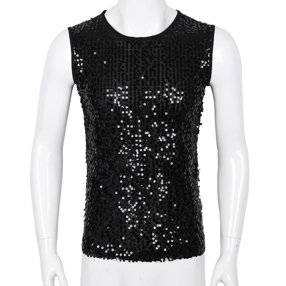Crew Neck Sequined Sleeveless Tee (Silver/Black/Gold)