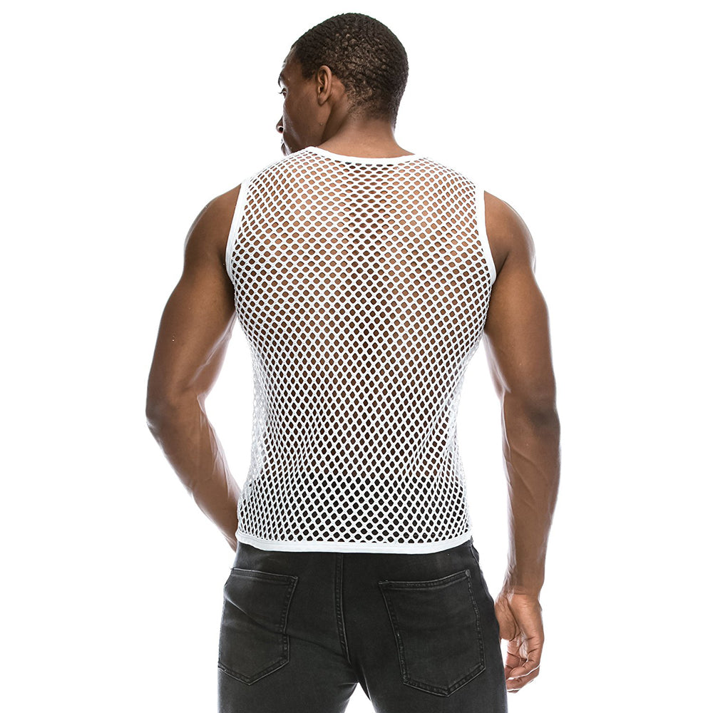 Mesh See-Through Fishnet Tank Top (Black & White)