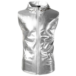 Men's Metallic Sleeveless Zip Up Hoodie (Multiple Colors)