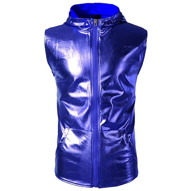 Metallic Sleeveless Zip Up Hoodie (Multiple Colors)